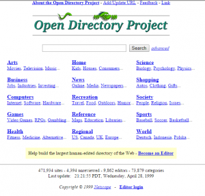 The DMOZ website in 1999